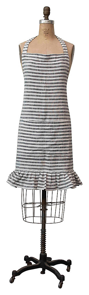 "32""L x 28""W Woven Cotton Striped Apron with Ruffle, Black and White, , large"