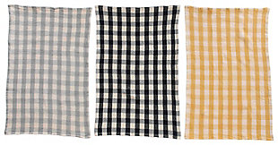 """28""""L x 18""""W Cotton Waffle Weave Tea Towels, Gingham, Set of 3, , rollover"""