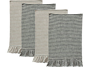 Striped Cotton Tea Towel with Ruffles (Set of 2 Colors), , large