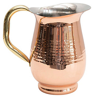 "8""L x 5""W x 7-3/4""H 42 oz. Hammered Stainless Steel Pitcher, Copper Finish, , rollover"