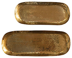 """19""""L x 7-1/2""""W and 15""""L x 6-1/2""""W Hammered Stainless Steel Oval Trays, Brass Finish, Set of 2, , rollover"""