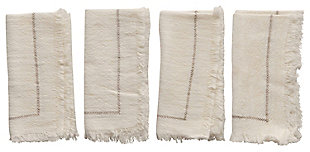 "18"" Square Woven Cotton Napkins with Stitching Detail and Fringe, Cream Color, Set of 4, , rollover"