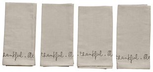 """18"""" Square Cotton and Linen Blend Embroidered Napkins, Gray, Set of 4 """"Grateful. Thankful. Blessed."""", , rollover"""