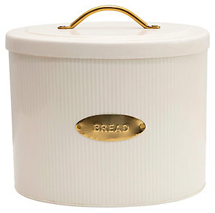 "11-1/4""L x 8""W x 10-3/4""H Metal Oval Storage Bread Box with Lid, Cream Color, , rollover"