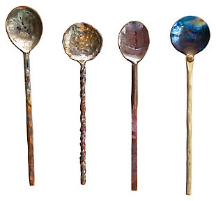 "Approximately 7""L Hand-Forged Copper Spoons, Burnt Finish, Set of 4 in Drawstring Bag (Each One Will Vary), , large"