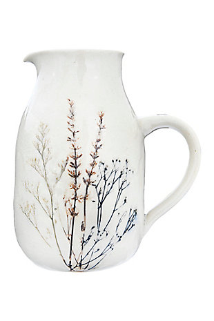 "6-3/4""L x 4-3/4""W x 7-3/4""H 32 oz. Stoneware Debossed Floral Pitcher, Reactive Crackle Glaze (Each One Will Vary), , large"