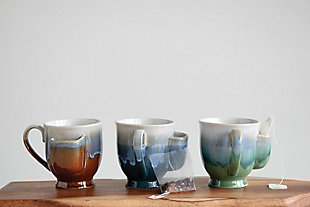 Stoneware Mug with Teabag Pocket and Reactive Glaze Finish (Set of 2 Colors), , rollover