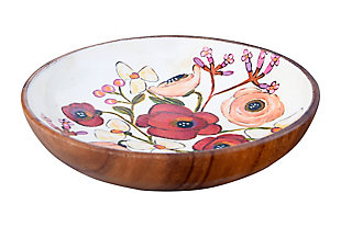"8"" Round x 1-1/2""H Enameled Acacia Wood Bowl with Flowers, , large"