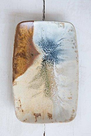 "13-1/2""L x 8-3/4""W Stoneware Platter, Reactive Glaze, Multi Color (Each One Will Vary), , rollover"
