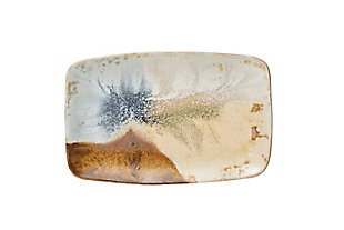 "13-1/2""L x 8-3/4""W Stoneware Platter, Reactive Glaze, Multi Color (Each One Will Vary), , large"