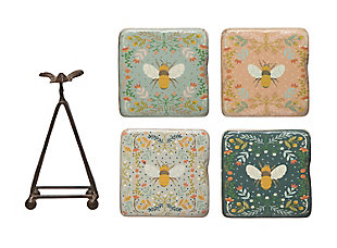 """Creative Co-Op 3-1/2"""" Square x 5-1/4""""H Resin Coasters with Bees and Metal Stand, Multi Color, Set of 5, , large"""