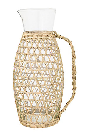 """3""""L x 5""""W x 9-1/2""""H 64 oz. Glass Pitcher with Seagrass Weave, , large"""