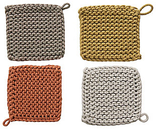 Square Cotton Crocheted Potholders/Hot Pads (Set of 4 Colors), , rollover