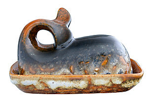 "7""L x 4-1/2""W x 4""H Stoneware Whale Butter Dish, Reactive Glaze (Each One Will Vary), , large"