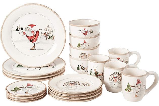 American Atelier Christmas Twig 20-Piece Dinner Set, , large