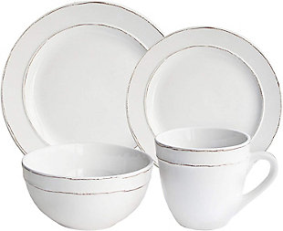 American Atelier Olivia White 16-Piece Dinnerware Set, White, large