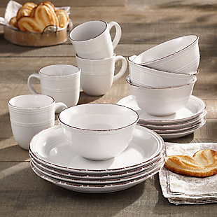 American Atelier Madelyn White 16-Piece Dinner Set, White, rollover