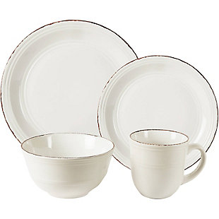 American Atelier Madelyn White 16-Piece Dinner Set, White, large