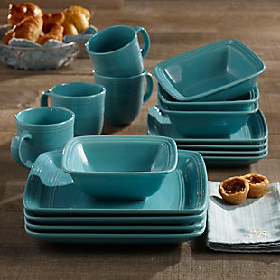 American Atelier Madelyn Turquoise Square 16-Piece Set, , rollover