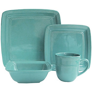 American Atelier Madelyn Turquoise Square 16-Piece Set, , large