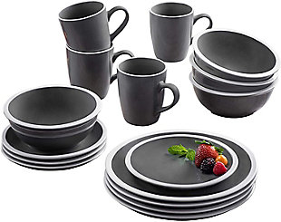 American Atelier Hadleigh Gray 16-Piece Set, Black/Gray, large
