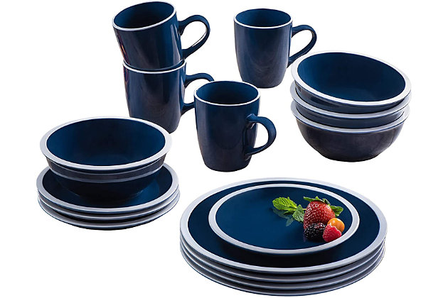 American Atelier Hadleigh Navy 16-Piece Dinner Set, Blue, large