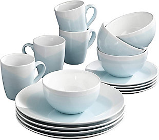 American Atelier Oasis Mint/White 12-Piece Dinner Set, , large