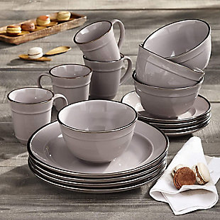 American Atelier Lucienne Black 16-Piece Dinner Set, Black/Gray, rollover