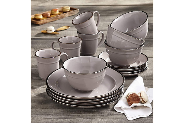 American Atelier Lucienne Black 16-Piece Dinner Set, Black/Gray, large
