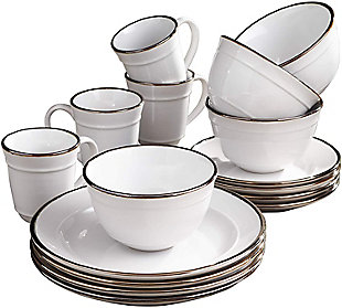 American Atelier Lucienne White 16-Piece Dinner Set, White, large