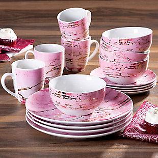 American Atelier Marble Design Pink/Gold 16-Piece Dinnerware Set, Pink, rollover