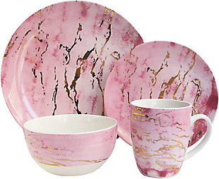 American Atelier Marble Design Pink/Gold 16-Piece Dinnerware Set, Pink, large