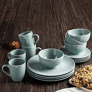 American Atelier Bistro Gray 16-Piece Dinnerware Set, Black/Gray, rollover