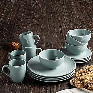American Atelier Bistro Gray 16-Piece Dinnerware Set, Black/Gray, rollover