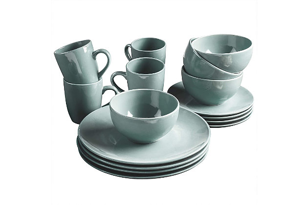 American Atelier Bistro Gray 16-Piece Dinnerware Set, Black/Gray, large