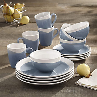 American Atelier Oasis Blue 16-Piece Dinner Set, Blue, rollover