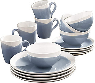 American Atelier Oasis Blue 16-Piece Dinner Set, Blue, large