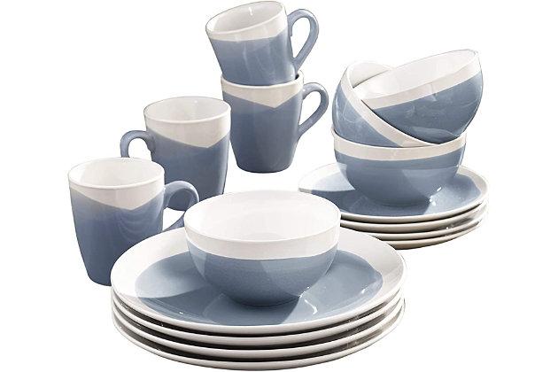 American Atelier Oasis Blue 16-Piece Dinner Set, Blue, large