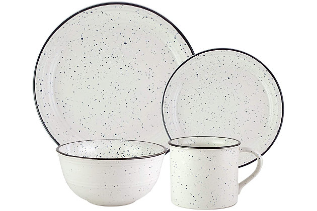 American Atelier Speckled Black/White 16-Piece Set, , large