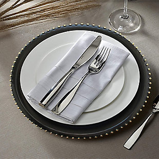 Elle Décor Black/Gold Beaded Set of 4 Charger Plates, Black/Gray, large