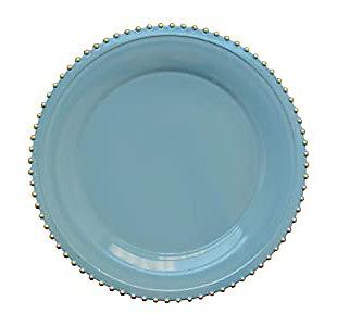 Elle Décor Blue/Gold Beaded Set of 4 Charger Plates, Blue, large