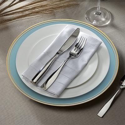 Elle Décor Gold Rim Blue Set of 4 Charger Plates, Blue, large