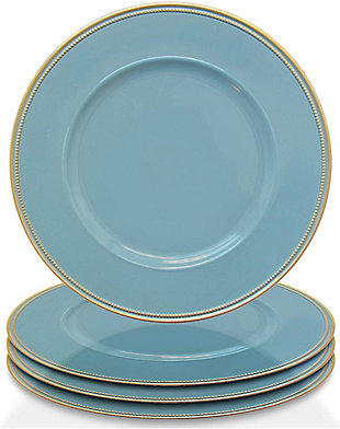 Elle Décor Gold Rim Blue Set of 4 Charger Plates, Blue, large