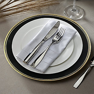 Elle Décor Gold Rim Black Set of 4 Charger Plates, Black/Gray, rollover
