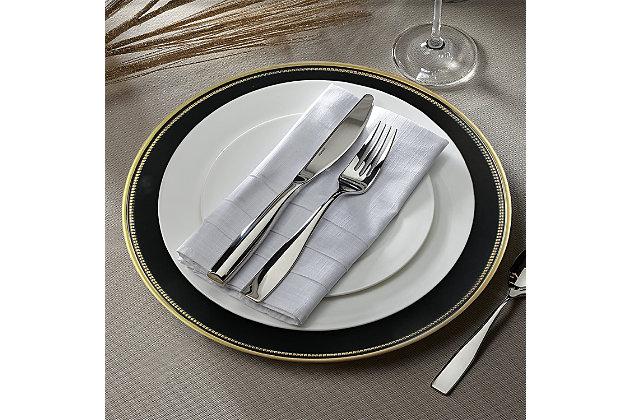 Elle Décor Gold Rim Black Set of 4 Charger Plates, Black/Gray, large