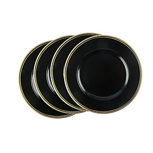 Elle Décor Gold Rim Black Set of 4 Charger Plates, Black/Gray, large