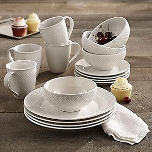 Elle Décor Chloe Porcelain 16-Piece Dinnerware Set, , rollover