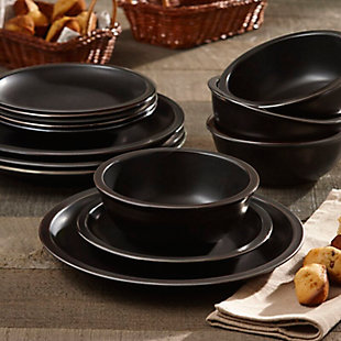 Elle Décor Metallic Black 12-Piece Dinner Set, Black/Gray, rollover
