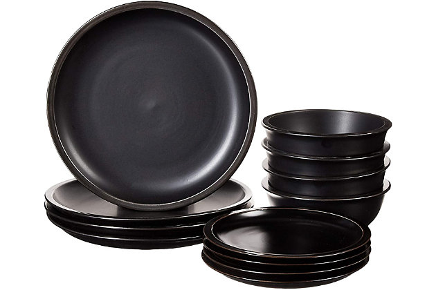 Elle Décor Metallic Black 12-Piece Dinner Set, Black/Gray, large