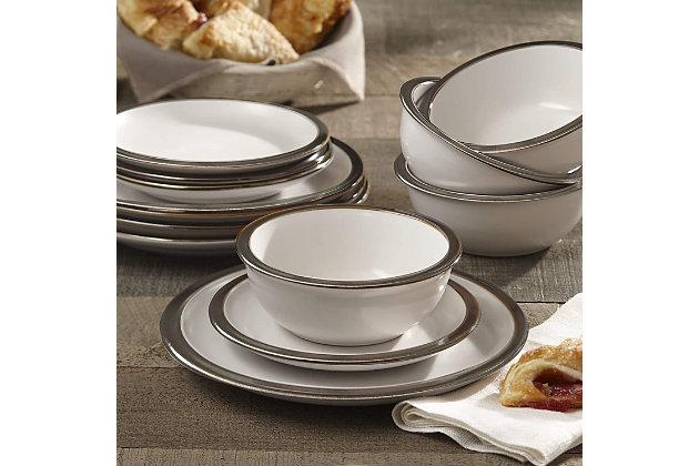 Elle Décor Metallic White 12-Piece Dinner Set, White, large